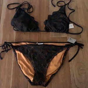 Never worn black lace bikini